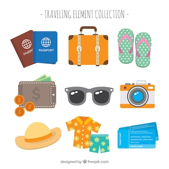 Collection d'éléments essentiels pour voyager