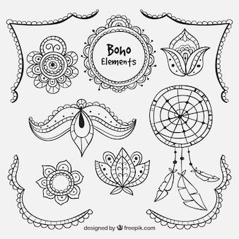 Collection d'éléments ethniques dessinés à la main
