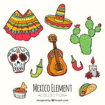 Collection d'éléments mexicains colorés