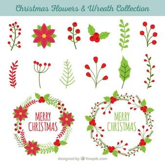 Collection d'éléments naturels et des couronnes de fleurs pour Noël