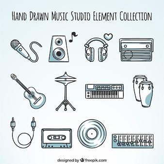 Collection d'éléments stéréo dessinés à la main