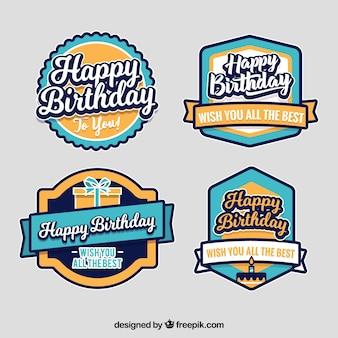 Collection d'étiquettes d'anniversaire en or et bleu