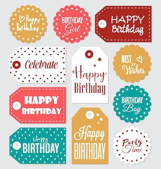 Collection d'étiquettes d'anniversaire
