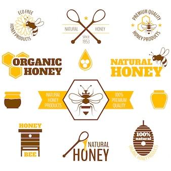 Collection d'étiquettes de miel en design plat