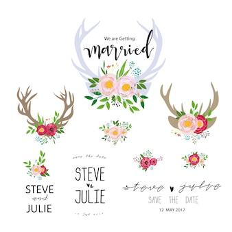 Collection d'étiquettes florales de mariage