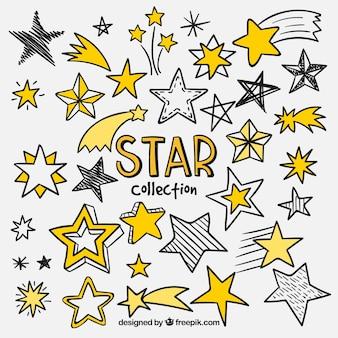 Collection d'étoile dessinée à la main