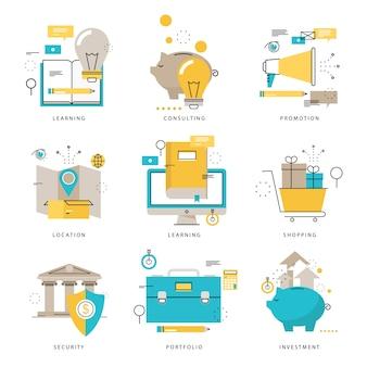 Collection d'icônes d'infographies pour e-learning, achats en ligne, service de livraison, banque, marketing, promotion, illustration vectorielle de sécurité financière. Les icônes de ligne sont définies. Éléments graphiques Web à conception plate