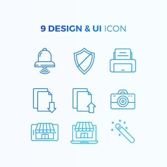 Collection d'icônes de conception et d'interface utilisateur