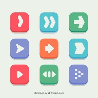 Collection d'icônes de flèche dans le design plat