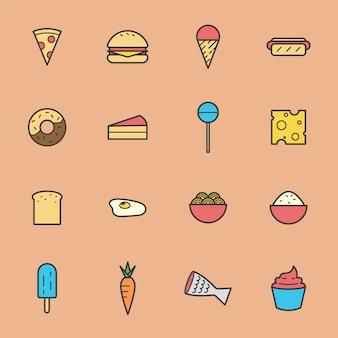 Collection d'icônes de malbouffe