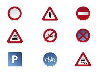Collection d'icônes des panneaux routiers