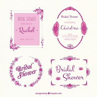 Collection d'images nuptiales de douche dans les tons roses