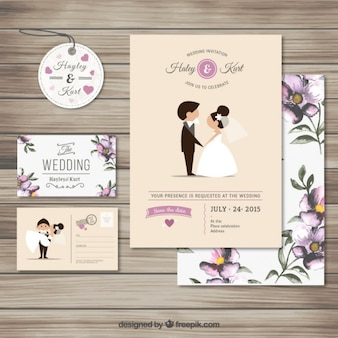 Collection d'invitation de mariage mignon