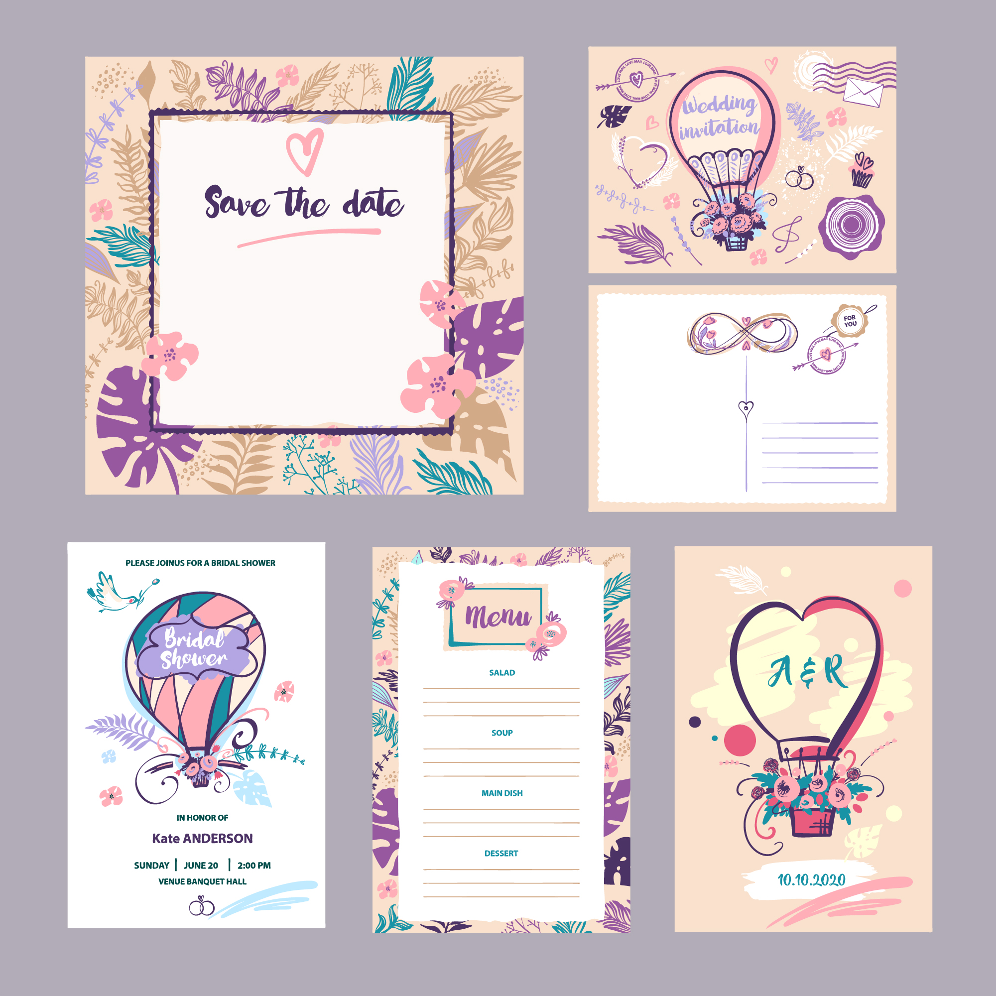 Collection d'invitation de mariage