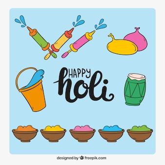 Collection d'objets dessinés à la main pour festival Holi