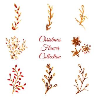 Collection d'ornements de Noël aquarelle