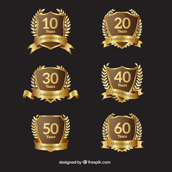 Collection de badges d'anniversaire d'or avec couronne de laurier