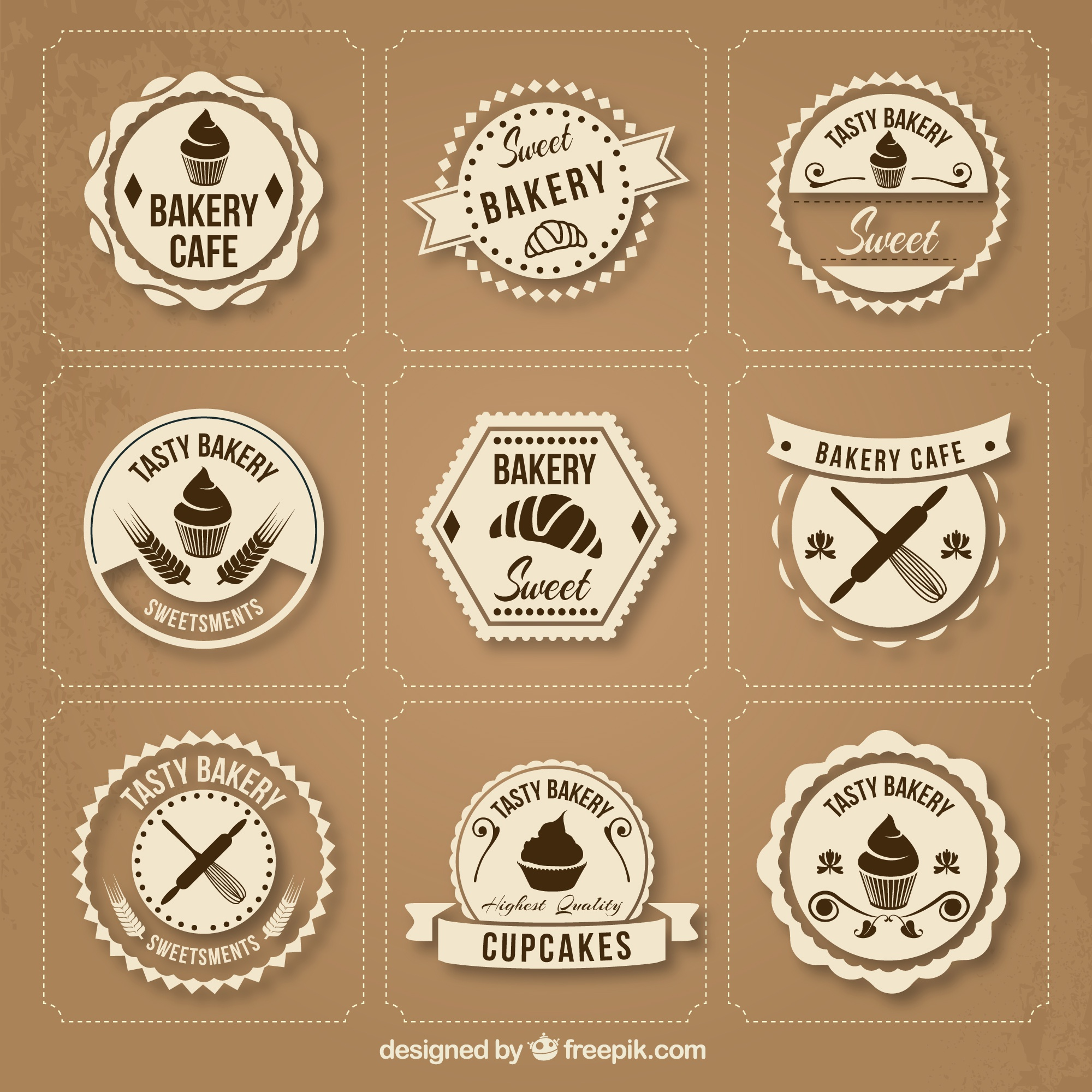 collection de badges de la boulangerie Retro