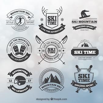 Collection de badges de ski en style vintage
