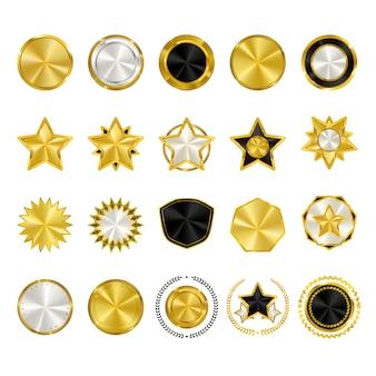 Collection de badges en or et en argent