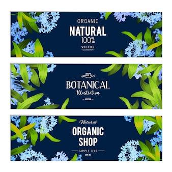 Collection de bannières naturelles avec des fleurs bleues