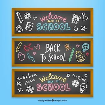 Collection de bannières scolaires avec des dessins