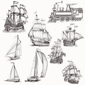 Collection de bateaux à main dessinée