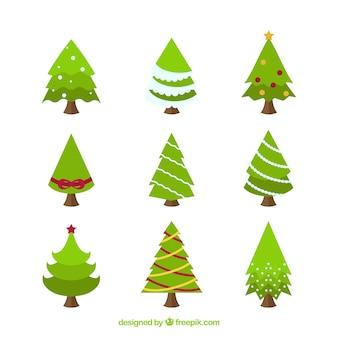 Collection de beau sapin de Noël au design plat