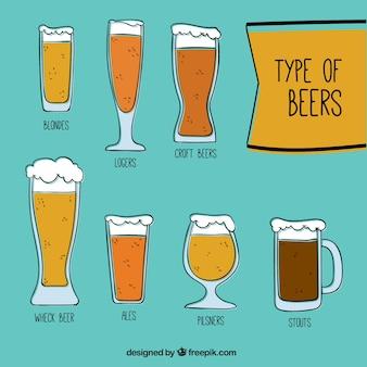 Collection de bières dessinés à la main