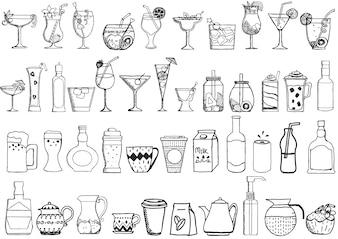 Collection de boissons dessinées à la main