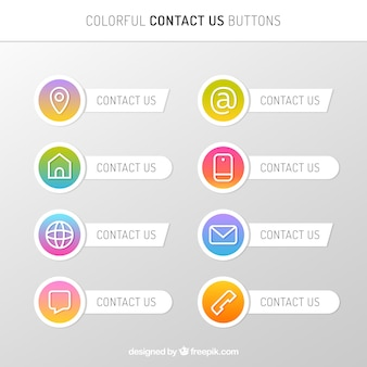 Collection de boutons de contact avec gradient