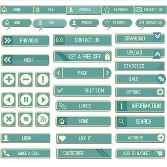 Collection de boutons papier web