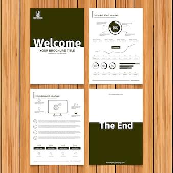 Collection de brochures commerciales verte et blanche