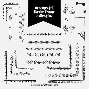 Collection de cadre de bordure ornementale noire