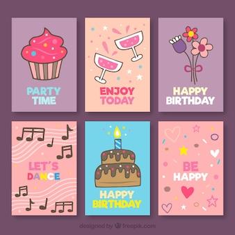 Collection de carte d'anniversaire dessinée à la main