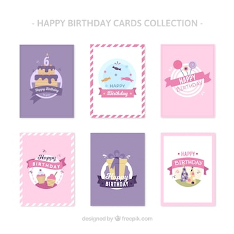Collection de cartes d'anniversaire de design plat