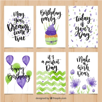 Collection de cartes d'anniversaire en aquarelle