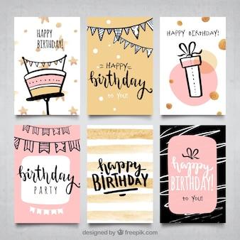 Collection de cartes d'anniversaire pour filles en couleur eau