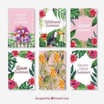 Collection de cartes d'aquarelle d'été