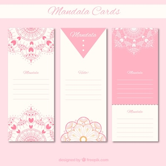 Collection de cartes de mandala rose