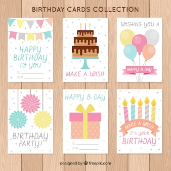 Collection de cartes de souhaits d'anniversaire