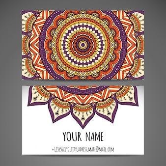 Collection de cartes de visite en style ethnique Dessin de main