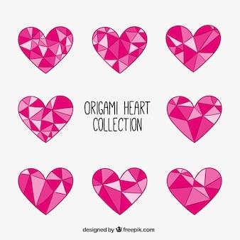 Collection de coeurs géométriques