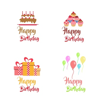 Collection de conception de logo vectoriel d'anniversaire