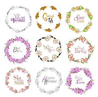 Collection de couronnes florales de fête