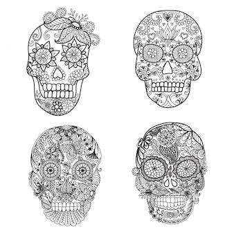 Collection de crânes dessinés à la main