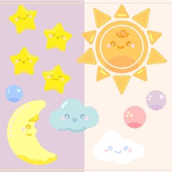 Collection de créations d'étoiles et de lune
