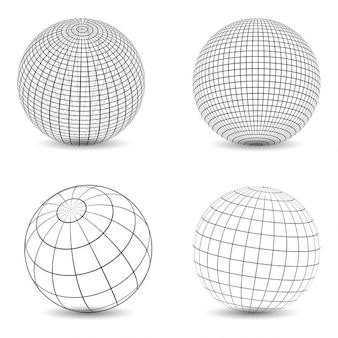 Collection de différents modèles de globes wireframe