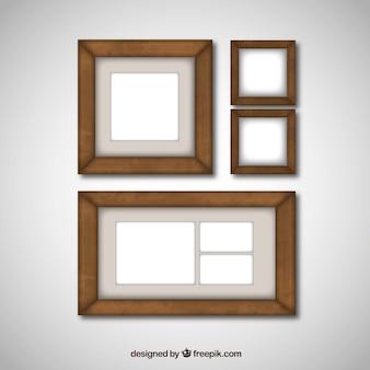 Collection de divers cadres en bois pour photographies