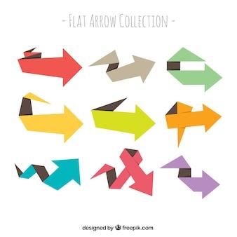 Collection de flèches colorées origami
